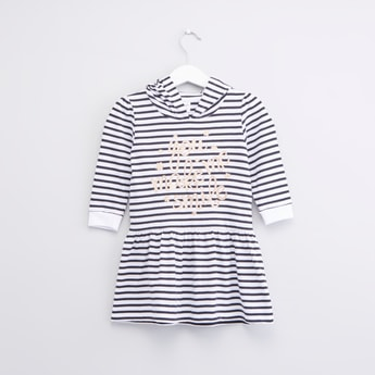 Striped Hooded Dress with Long Sleeves and Slogan Print Detail