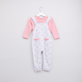 Striped Long Sleeves T-shirt with Printed Dungaree
