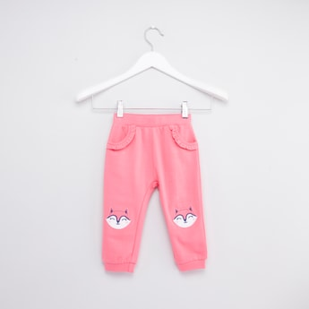 Full Length Jog Pants with Embroidered Applique and Ruffle Detail