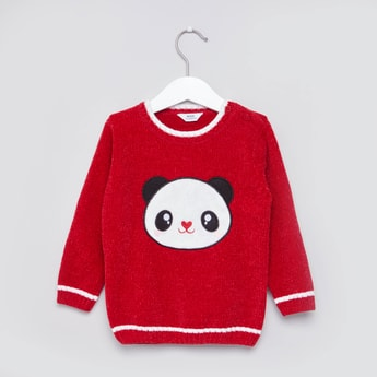 Textured Panda Chenille Sweater with Long Sleeves
