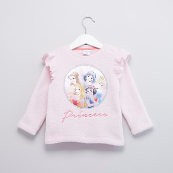 Disney Princess Printed Sweater with Long Sleeves and Ruffle Detail