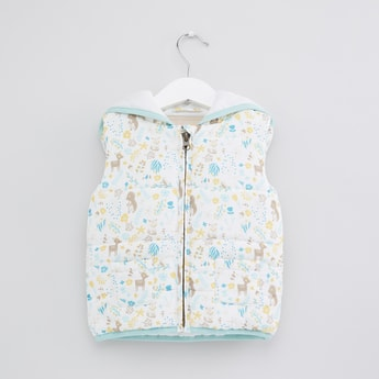 Printed Quilted Sleeveless Jacket