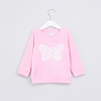 Lace Detail Long Sleeves Sweat Top