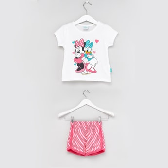Minnie Mouse and Daisy Duck Printed T-shirt and Shorts Set