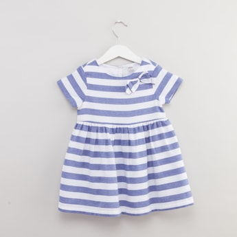 Striped Dress with Short Sleeves and Bow Applique Detail