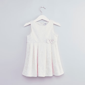 Textured Sleeveless Dress with Round Neck and Bow Applique