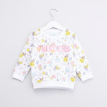 Princess Printed Sweatshirt with Round Neck and Long Sleeves