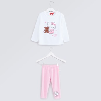 Hello Kitty Printed Long Sleeves T-shirt with Full Length Pyjamas