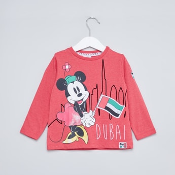 Minnie Mouse Printed T-shirt with Round Neck and Long Sleeves