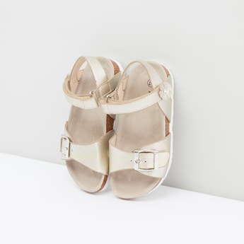 Metallic Sandals with Hook and Loop Closure