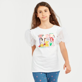 Princess Print T-shirt with  Round Neck and Puffed Sleeves