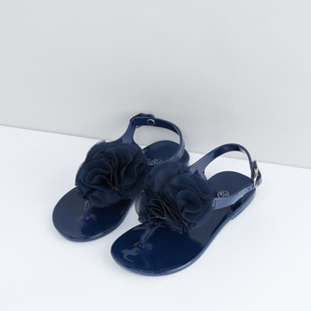 Flower Detail Sandals with Pin Buckle Closure