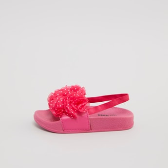 Textured Slides with Applique Detail and Backstrap