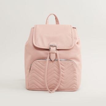 Textured Bucket Backpack with Adjustable Shoulder Straps