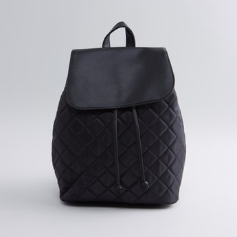 Quilted Backpack with Printed Straps