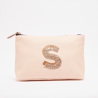 Embellished Alphabet S Pouch with Zip Closure