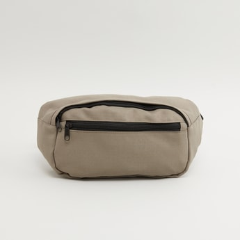 Textured Waist Bag with Adjustable Strap and Zip Closure