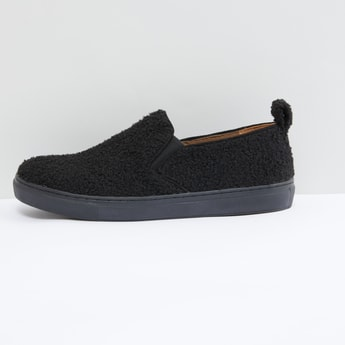 Plush Detail Slip-On Shoes with Elasticised Gussets
