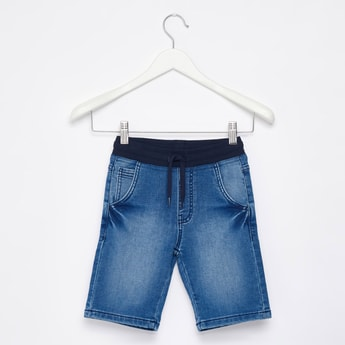 Knee Length Denim Shorts with Drawstring Waistband
