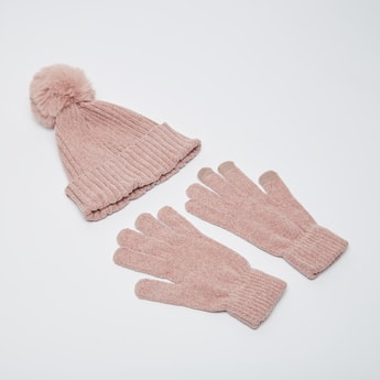 Textured Woolen Cap and Gloves Set