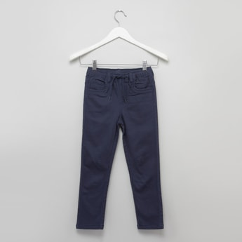 Solid 5-Pocket Jeggings with Drawstring Waistband