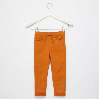 Full Length Solid Pants with Pockets and Drawstring Closure