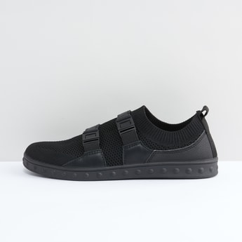 Textured Slip-On Shoes with Buckle Detail