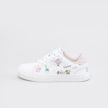 Printed Shoes with Lace-Up Closure