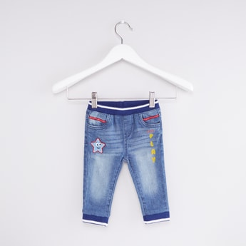 Full Length Cuffed Jeans with Elasticised Waistband and Pocket Detail