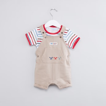 Striped Short Sleeves T-Shirt with Dungarees