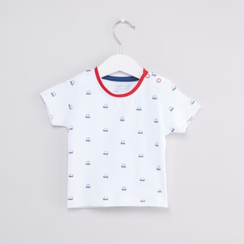 Printed Round Neck T-shirt with Pocket Detail Dungarees