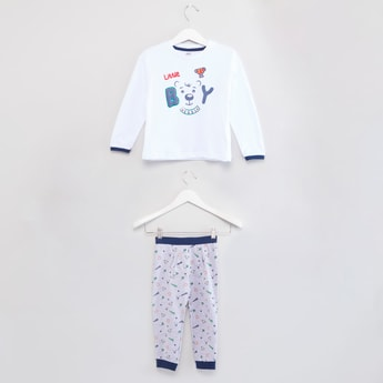 Printed Log Sleeves T-shirt with Jog Pants