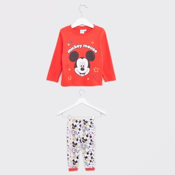 Mickey Mouse Printed T-shirt with Full Length Jog Pants