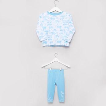 Printed Long Sleeve T-shirt with Pyjama Set