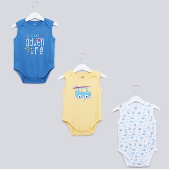 Set of 3 - Printed Bodysuit with Round Neck