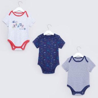 Set of 3 - Printed Bodysuit with Short Sleeves