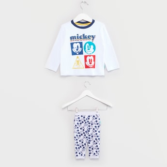Mickey Mouse Print Round Neck T-shirt with Jog Pants Set