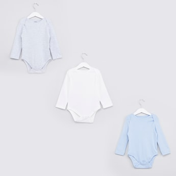 Set of 3 - Textured Bodysuit with Long Sleeves