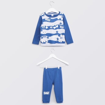 Stripe Monster Printed T-shirt and Pyjama with Elasticated Waistband