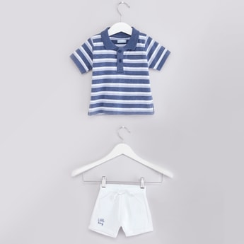 Textured Striped Polo T-shirt and Shorts with Drawstring Closure