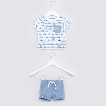 Printed Striped Henley T-shirt with Drawstring Shorts