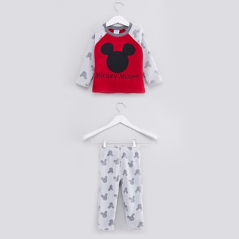 Mickey Mouse Textured T-shirt and Full Length Pyjama Set