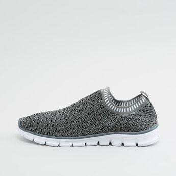 Textured Slip-On Shoes with Ribbed Collar and Pull Tab