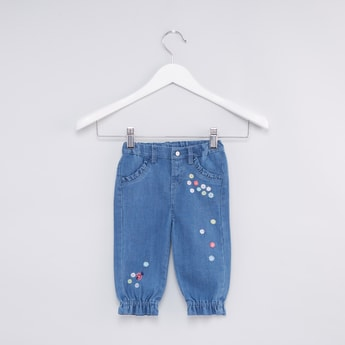 Embroidered Jeans with Pocket Detail and Elasticised Hem