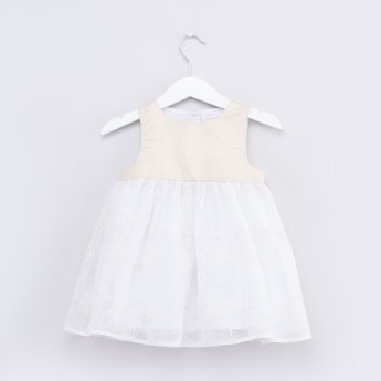 Textured Sleeveless Dress with Round Neck