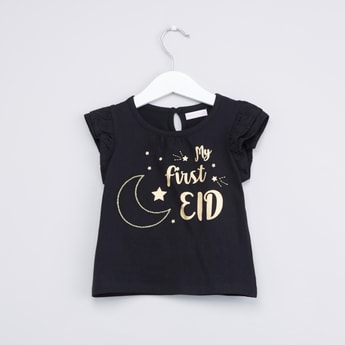 My First Eid Printed Round Neck Top