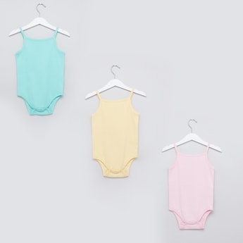 Set of 3 - Textured Sleeveless Bodysuit with Press Button Closure