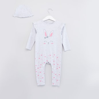 Printed Frill Detail Sleepsuit with Cap