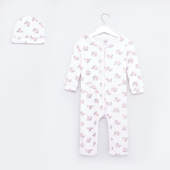 Floral Printed Sleepsuit and Cap Set