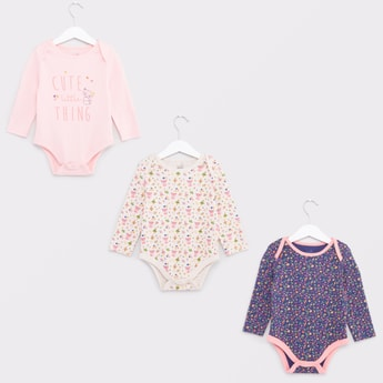 Set of 3 - Printed Bodysuits with Round Neck and Long Sleeves